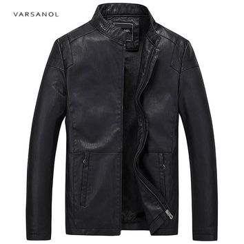 Trendy Varsanol Causal PU Leather Jackets Men Long Sleeve Winter Thick Pocket Bomber Straight Outerwear Hot Sale Zipper Brand Clothing AT_94_13