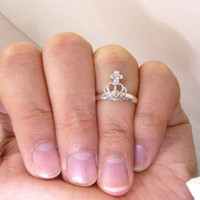 A tiny silver plated crown mult-task ring, above knuckle ring,adjustable finger ring,stackable ring, toe ring, little finger ring