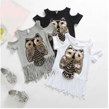 Fringe T Shirt Kids Sequin Shirt Cut Out Shoulder Tops