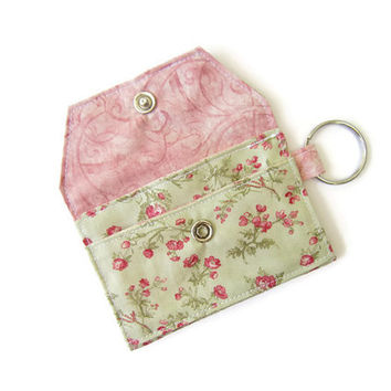 Mini key chain wallet/ simple ID Key chain pouch / keychain coin purse / Business card holder / pink and light green floral pattern