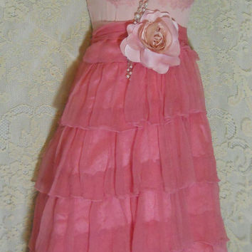 Pink silk dress chiffon ruffles bright romantic by vintageopulence