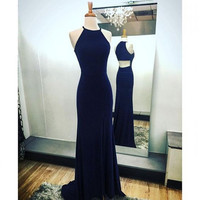 O-Neck High Neck Long Prom Dresses