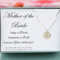 Gift for Mother of the Bride gift from Bride, sterling silver initial necklace, gift for mom from bride, personalized gift box, wedding gift