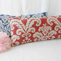 FREE SHIPPING Ready To Ship Set of 2 Lumbar Pillows Red Blue Oatmeal Home Decor OOAK