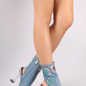 Denim Embroidery Chunky Clear Heeled Booties