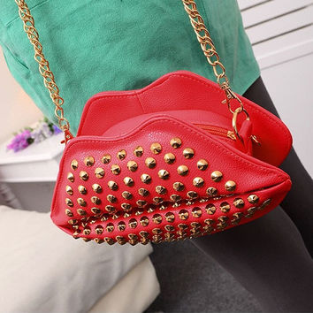 Fashion Rivet Women Chain Shoulder bag Women's Clutch Evening Bags Red Lips Purse Leather Handbags/messenger Bag Red