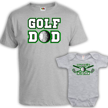 Matching Father Son Shirts Daddy And Me Outfits Father Daughter Matching Shirts Family Outfits Golf Dad Daddy's #1 Fan Bodysuit MAT-728-729