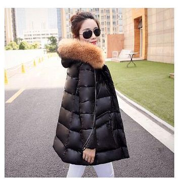 winter jacket Korean Style women 2015 duck down coat thick slim winter coat women real raccoon fur collar hood coat