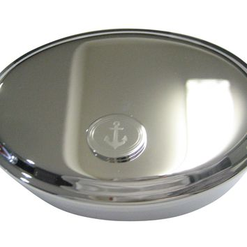 Silver Toned Etched Oval Nautical Anchor Oval Trinket Jewelry Box