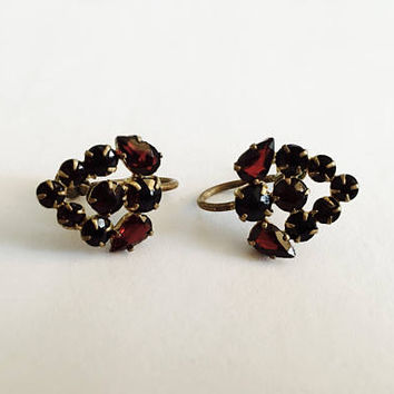 Vintage Czechoslovakian, Bohemian, 1920's Art Deco,  Gold Toned Screw Back, Prong Set, Red Crystal Glass Multi Stone Earrings