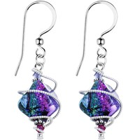 925 Silver Spiral Dichroic Glass Earrings Created with Swarovski Crystals