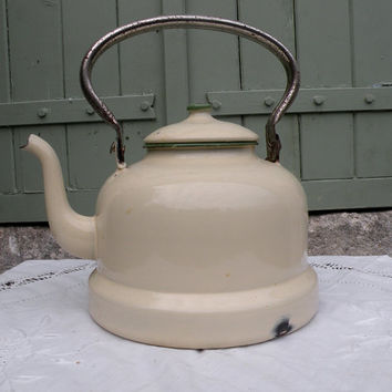 French enamel kettle, vintage enamelware, retro kitchenware, mid century modern, french kettle, vintage french, yellow enamel kettle