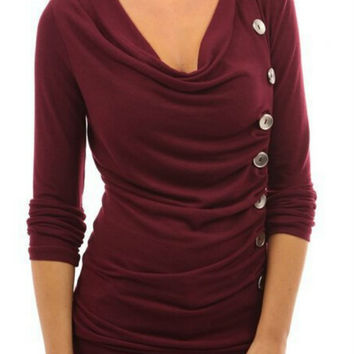 Burgundy Button Decorated Long Sleeve Sweatshirt