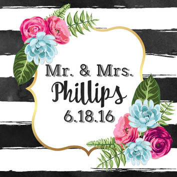 Watercolor Rugby Stripe with Flowers - Wedding Mini Bottle Labels