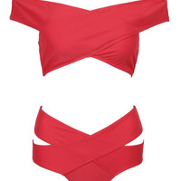 Red Off Shoulder Cross Wrap Bikini Top And High Waist Bottom