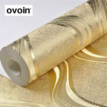 Luxury Foil Silver / Gold Metallic Wallpaper For Walls Roll Metal Silver Wall Paper Geometric Striped Wallpaper