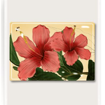 Tropical Hibiscus Decoupage Glass Tray