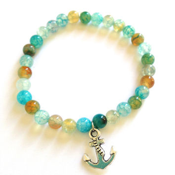 Agate Anchor Bracelet - Ocean Inspired Jewelry - Surf SUP beach gifts for her