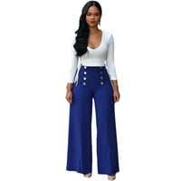 White Deep V Lace-Up Top Blue Button Detail Wide Leg Pants