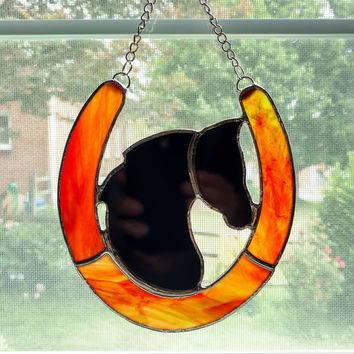 Stained Glass Horseshoe and Horse Silhouette Suncatcher, Western Decor, Horse Lover Gift, Rustic Decor, Horseshoe Art, Good Luck Charm