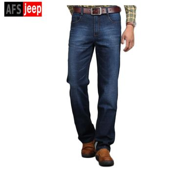 Hot Brand Afs Jeep  jeans 2017 Autumn&Winter men high quality fashion elasticity jeans casual slim fit men jeans classic jeans