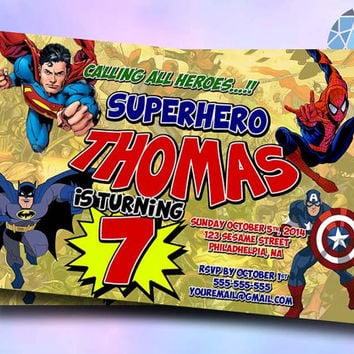 Superhero comic Marvel Design For Birthday Invitation on SaphireInvitations