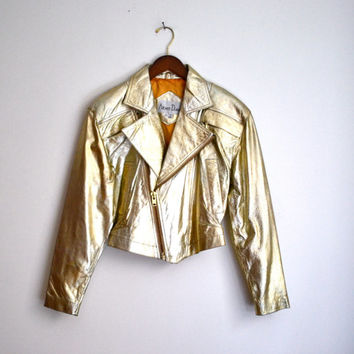 Vintage 80s Biker Metallic Gold Leather Jacket, Size S/M