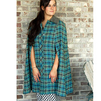 Pendleton cape, plaid wool cape, virgin wool, blue green black, plaid tweed cape, curly lamb collar