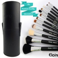 Elaire Premium Makeup Brush Set 12 Piece with Professional Elegant and Large Bru...