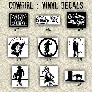 COWGIRL vinyl decals - 73-81 - personalized vinyl sticker - custom car window sticker - vinyl sticker - truck window sticker - car decal