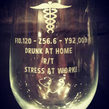 ICD-10 Funny medical coding, nurse, doctor, medical assistant etched glassware.