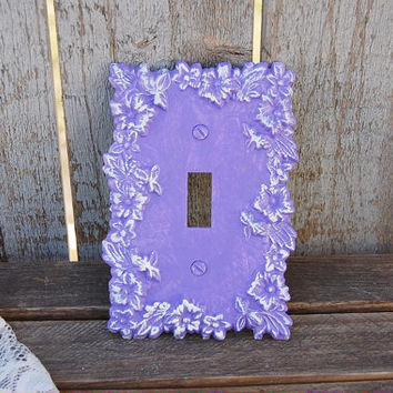 Shabby Chic Switch Cover, Wall Plate, Purple, White, Ornate, Flowered, Upcycled, Hand Painted
