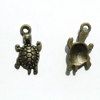 Charm - Turtle, Antique Brass