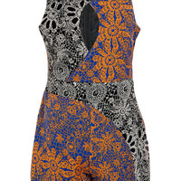 Boutique Loretta Open Wrap Front Paisley Playsuit