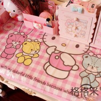Kawaii Small Size 90*60CM Cartoon Hello Kitty My Melody Home Picnic Beach Plastic Waterproof Table Cloth