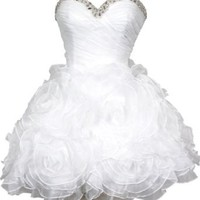 Beaded Organza Florettes Mini Prom Dress Formal Gown Junior and Junior Plus Size, Small, White