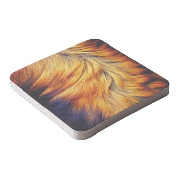 Cool horse tail fur texture trendy design square paper coaster