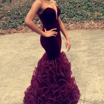 Sweetheart Mermaid Prom Dress,Burgundy Prom Dresses,Long Evening Dresses