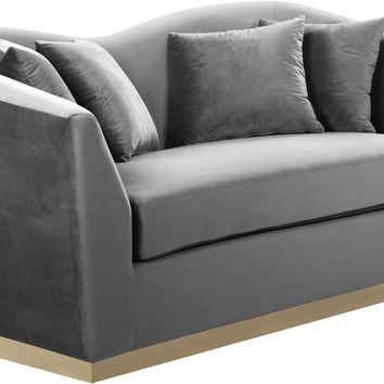 Arabella Curved Back Grey Velvet Loveseat