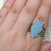 Blue Owl Adjustable Brass Ring