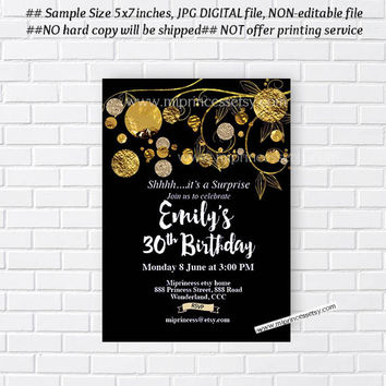 Birthday Invitation for any age, gold foil theme, golden birthday party 16th 18th 20th 30th 40th 50th 60th 70th 80th 90th  - card 849