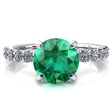 Alessi Round Emerald 4 Claw Prong 3/4 Micro Pave Engagement Ring