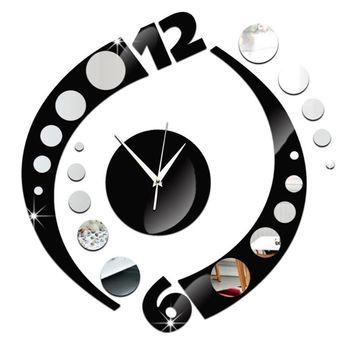 Quartz clocks Arc Dual Color Wall Clock Acrylic 3D Mirror Sticker.