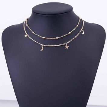 Layered Gold Choker Necklace Moon Stars Gold Necklace lasso Necklace Gift
