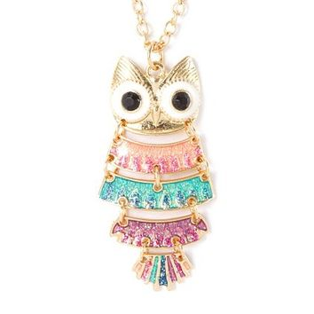 Pastel Glitter Owl Articulated Pendant Necklace  | Claire's
