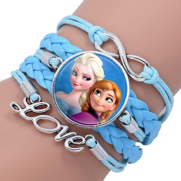 Princess Portrait Glass Cabochon Love Leather Bracelet For Girls