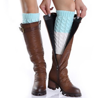 Mix-color Knitted Leg Warmers Boot Cuff Socks