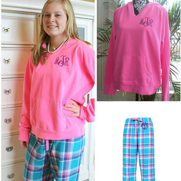 Monogram Pajama Set Comfort Color Neon Pink Hoodie with Blue and Pink Plaid Flannel Pants Christmas Gift Set