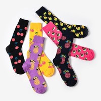 Foot 23-27cm Calf Crew Socks Fashion Funny Happy Tropical Fruits Black Cherry Currant Purple Pineapple Pink Lemon Juice Colorful