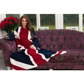 Union Jack Wearable Fleece Blanket with sleeves